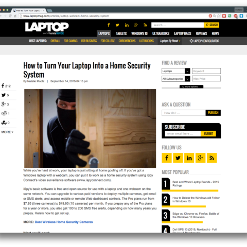 How to Turn Your Laptop Into a Home Security System