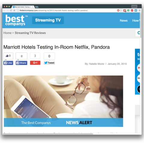 Marriott Hotels Testing In-Room Netflix, Pandora