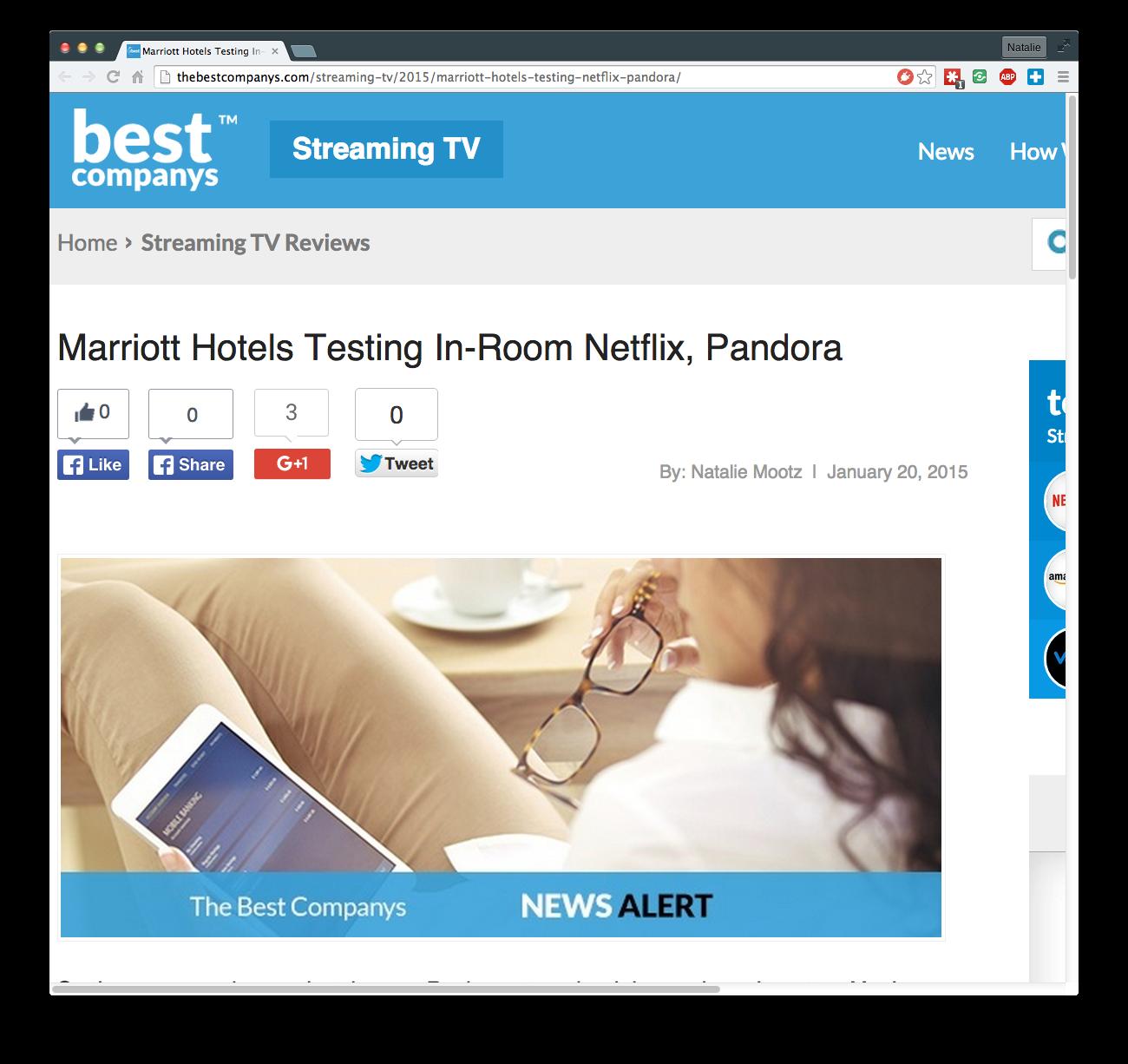 Marriott Hotels Testing In-Room Netflix, Pandora